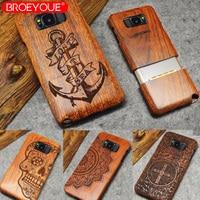 BROEYOUE Wood Case For Samsung Galaxy S5 S6 S7 S8 S9 Edge Plus 100 Retro Nature