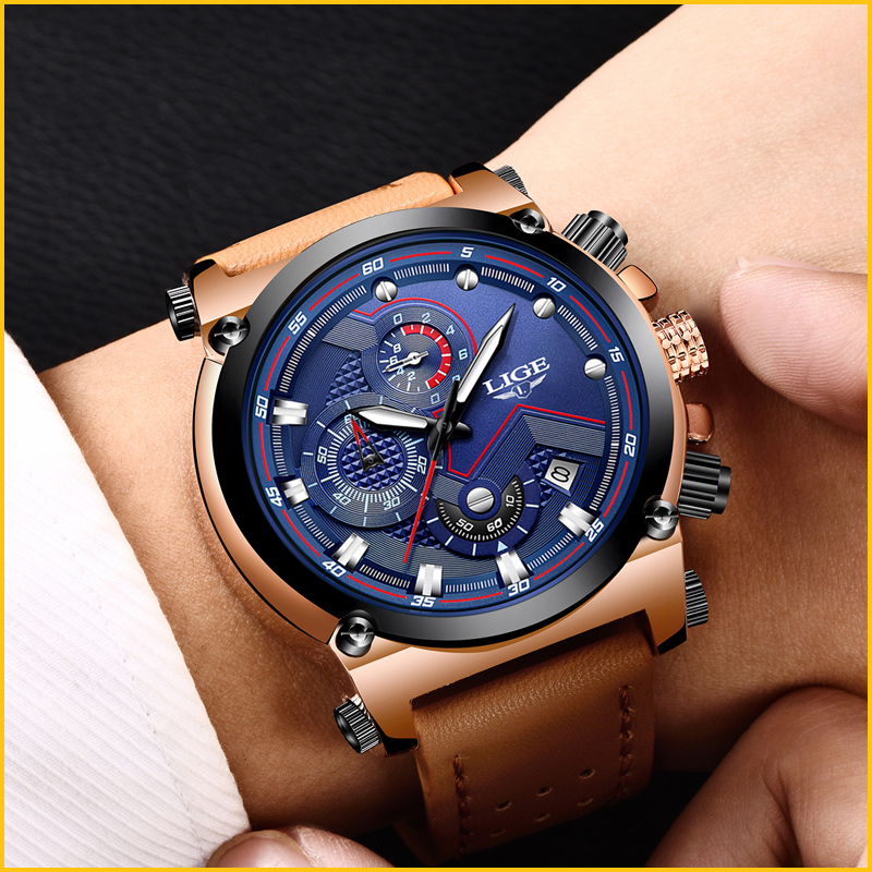 Relojes hombre LIGE Mens Watches Top Brand Luxury Casual Sports Quartz Watch Men Leather Military Luminous Waterproof WristWatch mens watches oulm top brand luxury military quartz watch unique 3 small dials leather strap male wristwatch relojes hombre