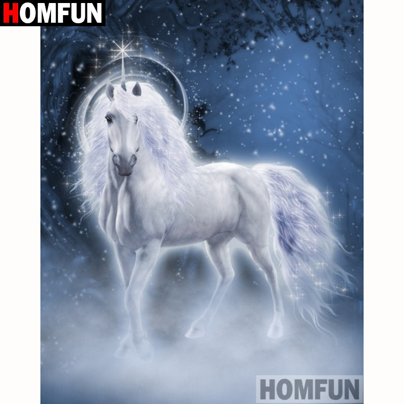 HOMFUN Full Square Round Drill 5D DIY Diamond Painting quot Animal horse quot Embroidery Cross Stitch 5D Home Decor Gift A18255 in Diamond Painting Cross Stitch from Home amp Garden