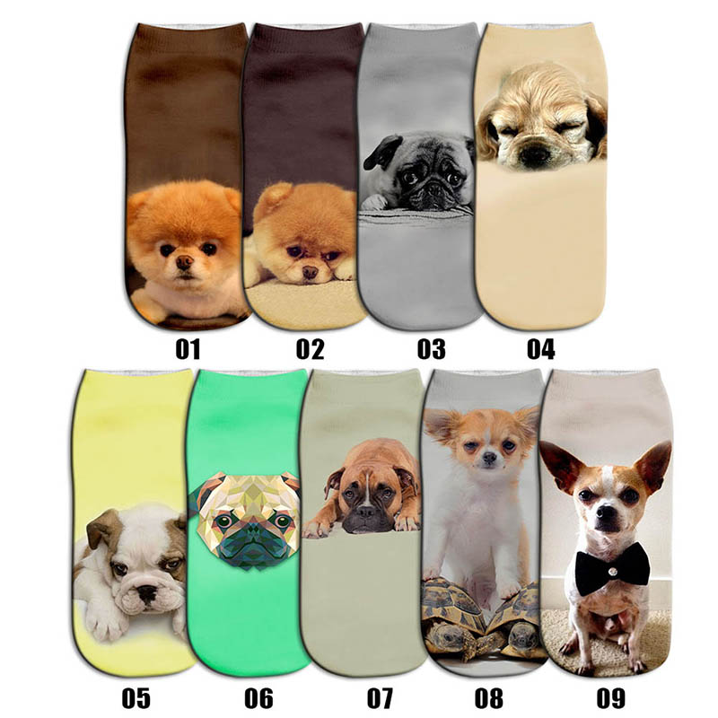 1Pair 3D Print Cute Pet Hosiery Socks Cotton Dog Printed Style Low Anklet Socks Christmas Women
