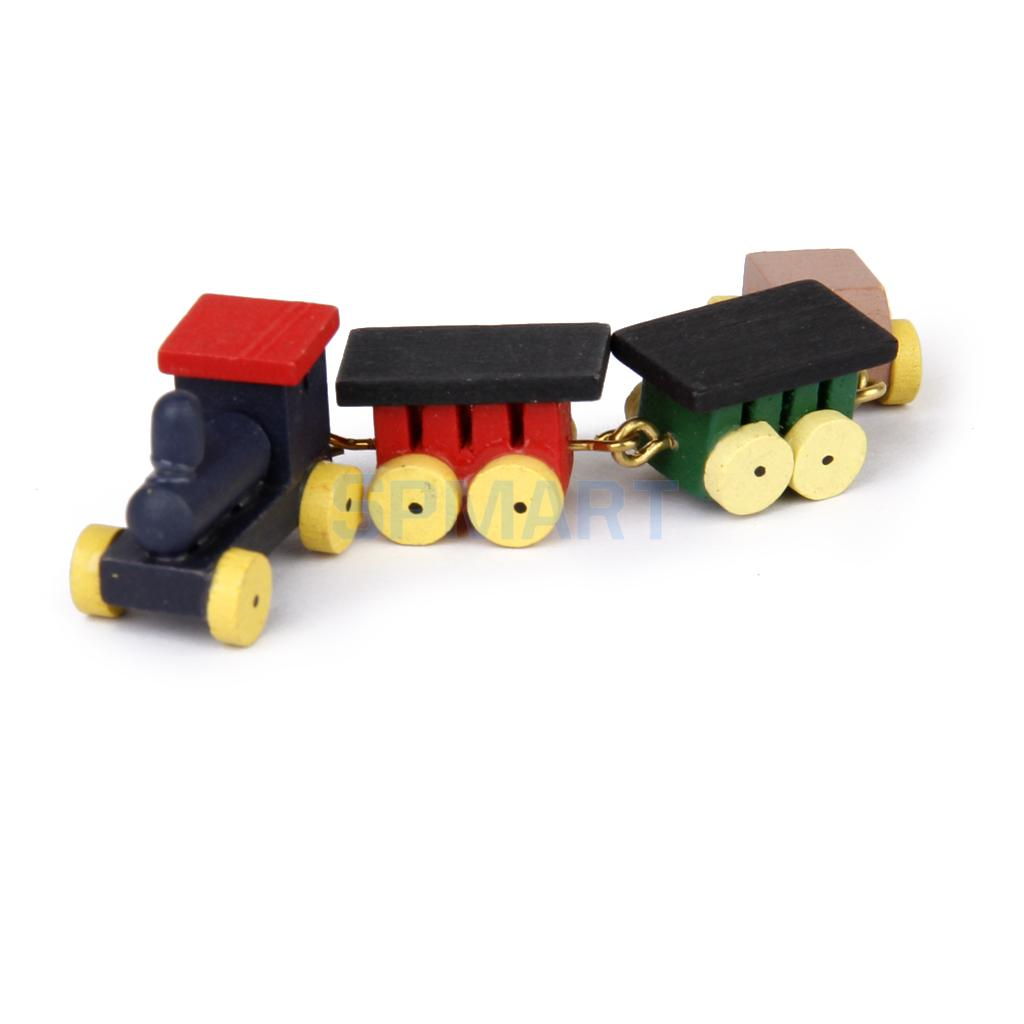 1:12 Miniature Wooden Train Locomotive Carriages Active Toy Furniture Dollhouse