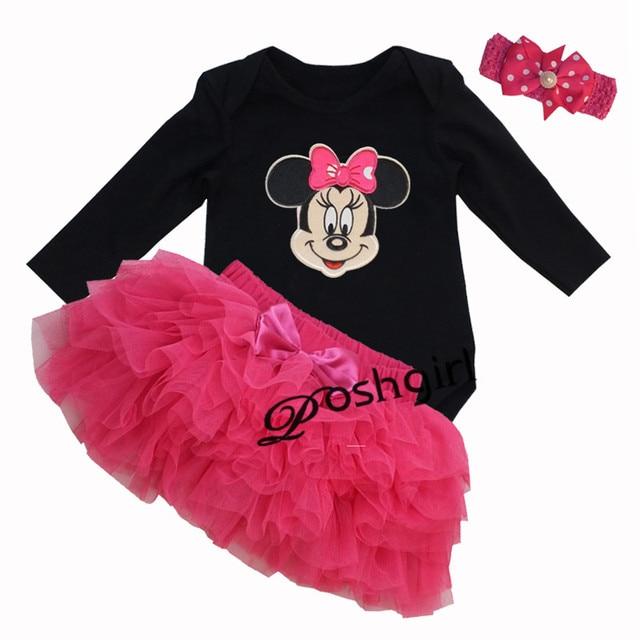 Cartoon Minnie Mickey Clothing Set for Baby Girls Cotton Black Jumpsuit + Tutu Skirt +Headband Princess Newborn Bebe Outfit Sets