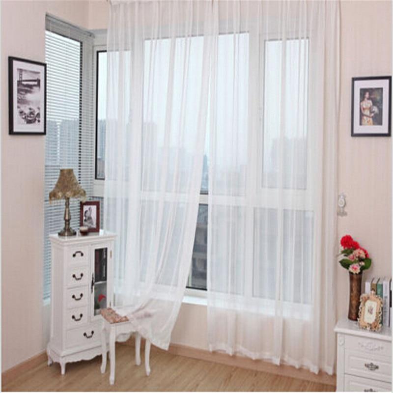 2*1m Tulle Curtains Door Window Panel Curtain Pure Color Chiffon Curtain  Home Window Wedding