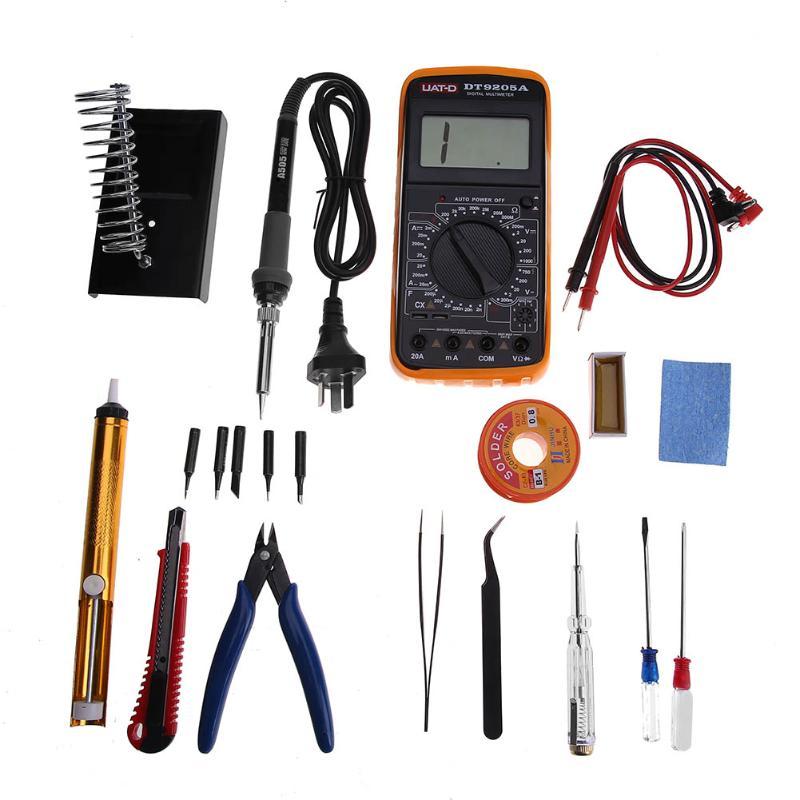 20pcs 220V 50W Adjustable Temperature Electric Soldering Iron Welding Solder Station + Digital Multimeter Set Repair Tools