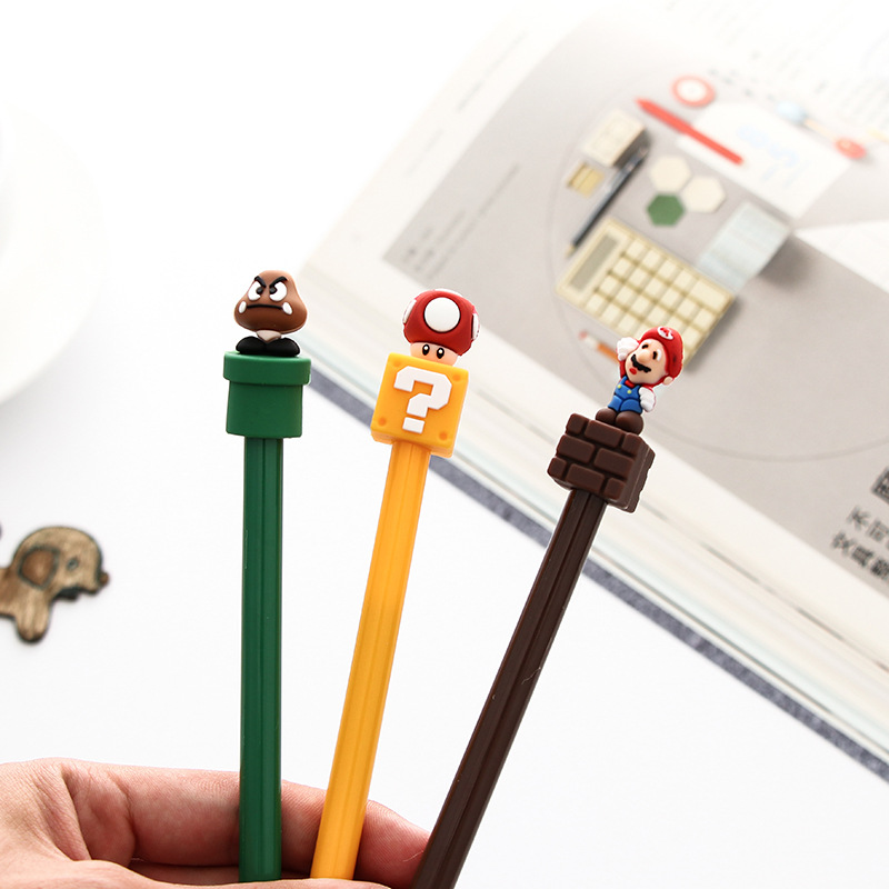 0.5mm Cute Novelty 3D Super Mario Gel Ink Pen Kawaii Signature Pen Escolar Papelaria School Office Supplies Students Gift0.5mm Cute Novelty 3D Super Mario Gel Ink Pen Kawaii Signature Pen Escolar Papelaria School Office Supplies Students Gift
