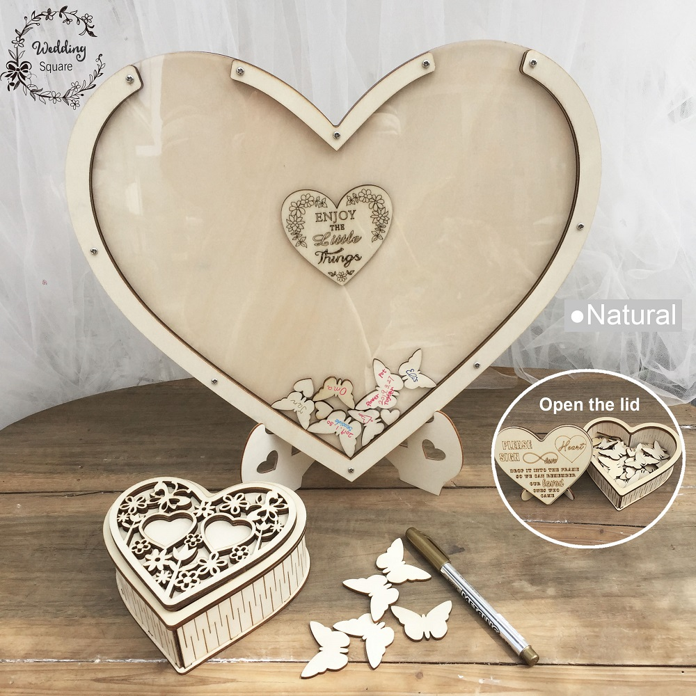 Butterf Hearts unique paty Decoration Rustic Sweet Wedding Guestbook Wish Drop box Wedding 3D Guest book