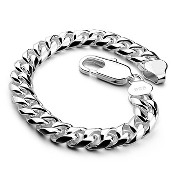 Men sterling silver jewelry 100% 925 Sterling silver vintage link chain bracelet thick bracelet Cuban bracelet 10MM20cm bracelet 8mm solid pure sterling silver 925 mens chain bracelet simple cool style thai silver mens jewelry polished link chain free box