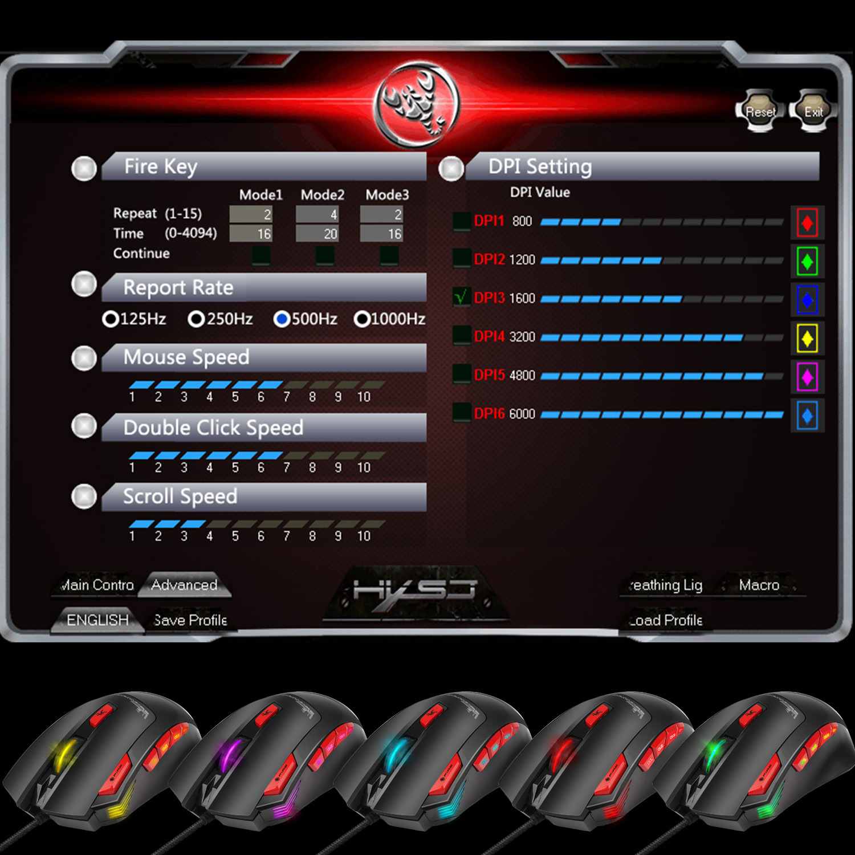 Hongsund Programmable Gaming Mouse 9 key illuminable mouse up to 6000 dpi RGB Backlit USB Wired Optical Gamer 12