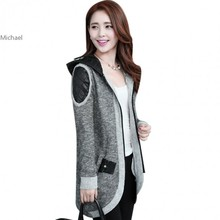 Korean Newest Knitted Long Coat Jacket Sweater Cardigan Hoodie Cardigan Zipper Overcoat knitting Blouse 25