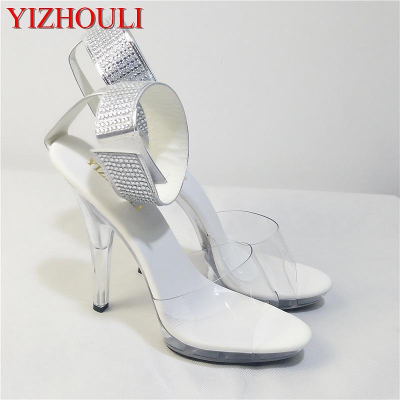 2018 women s shoes 5 inch rhinestone wedding shoes transparent crystal high heels 13cm stiletto pole