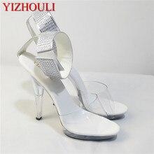 2018 chaussures pour femmes 5 pouces strass chaussures de mariage transparent cristal talons hauts 13 cm stiletto pole danse sandales