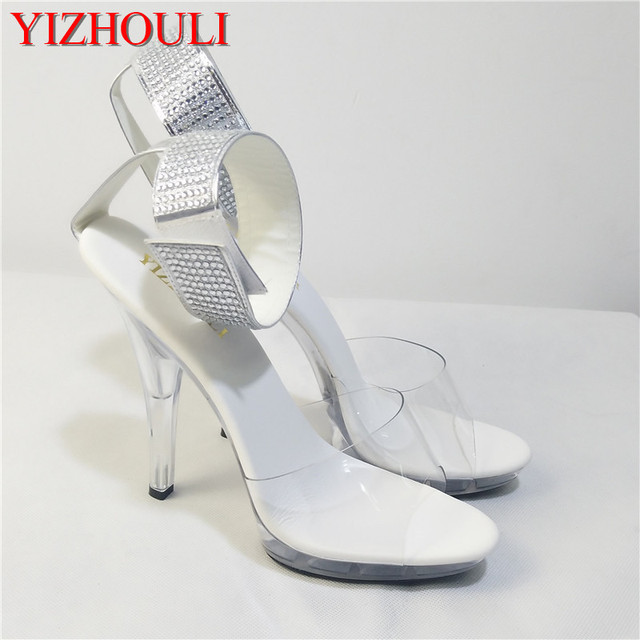 2018 Donna scarpe 5 inch rhinestone wedding scarpe transparent    transparent 35d223