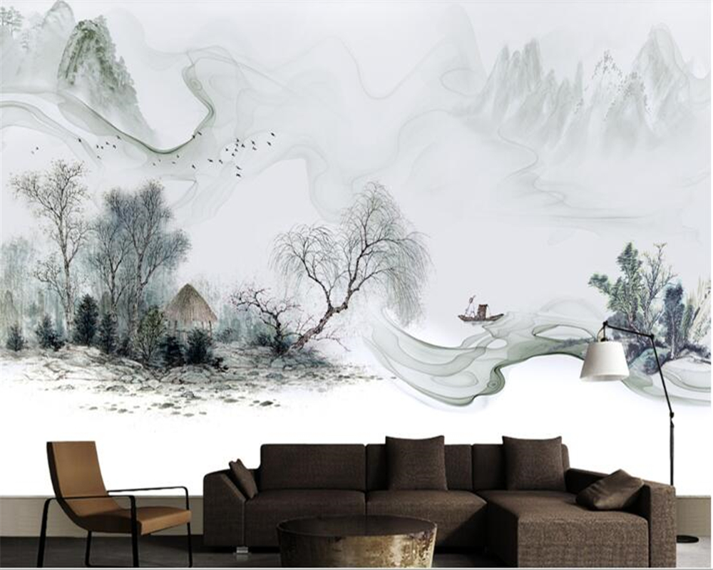 Beibehang Wallpaper For Walls 3 DSimple New Chinese Style Chinese Ink Dream Landscape Sofa Background Wall Paper Papel De Parede