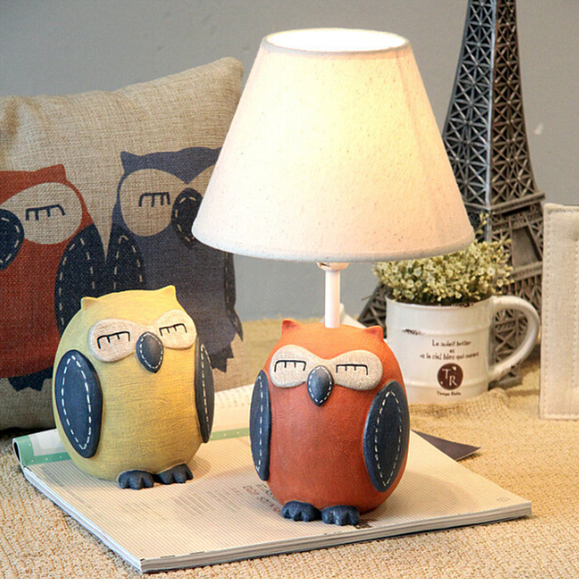 Children Room Lovely Owl Kids Wooden Desk Lamp E14 110V-220V  Reading Led Lamp  Switch Button Laptop Table Light Study Lamps