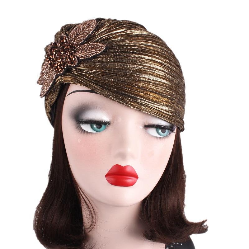 2018 New Noble Bronzing Cloth Ruffled Women Headdress Indian Cap Blackamoor Headband TJM-79C Hair Accessories Free Shipping