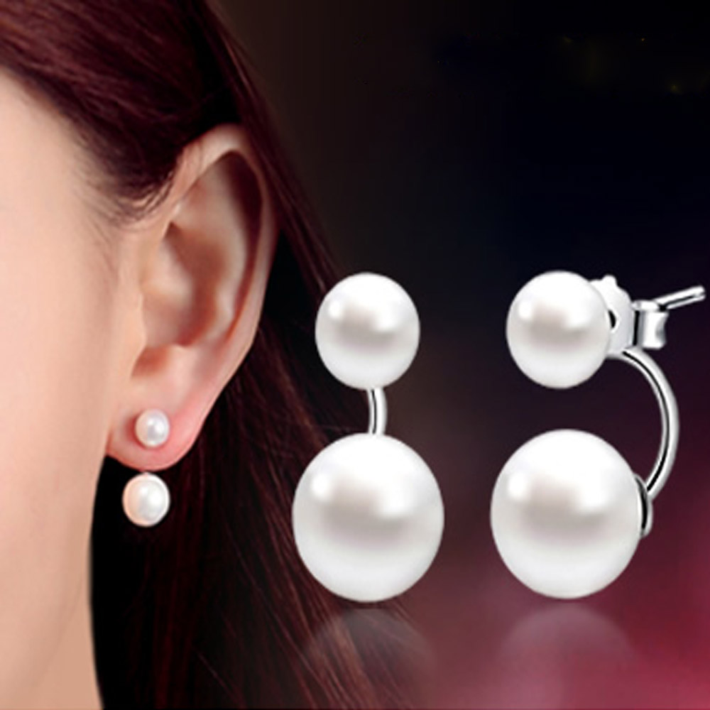 Fashion High Quality 925 Sterling Silver Double Sided Shell Pearl Stud Earrings Jewelry Long Earrings For Women Ear Jewelry Gift