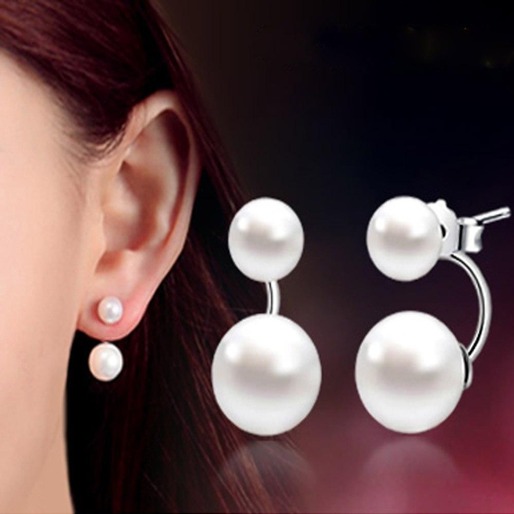Fashion Double Pearl Stud Earrings Jewelry 925 sterling silver Earrings For Women Korea Ear Jewelry Gift New 2020 oorbellen(China)