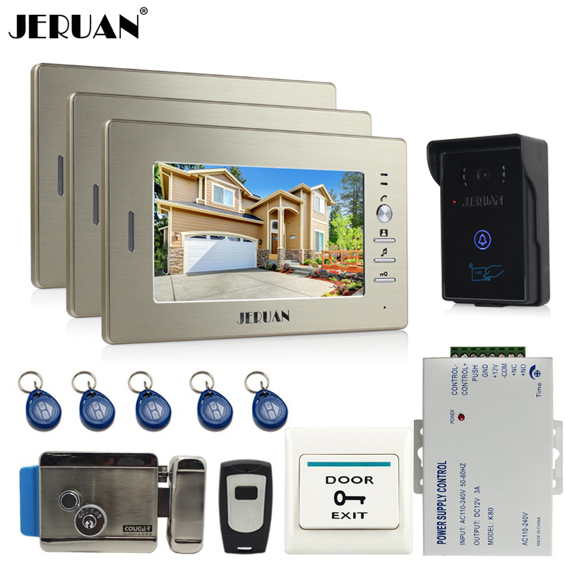 JERUAN 7`` Screen Video Intercom Video Door Phone Entry System 3 monitor+ 700TVL RFID Access Waterproof Camera +Electronic lock jeruan home 7 inch lcd screen video door phone intercom system 1 monitor 700tvl rfid access camera remote control in stock