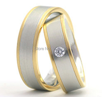High End Custom Made 18k Gold Plated Classic Traditional Western Style Titanium Wedding Rings Sets For