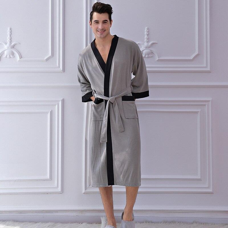 Hotel Bathrobe Cotton Men's Waffle Robe Bathrobe Sweat Sauna Bathrobe Men Bath Robes Cotton Badjasbath Robe Terry Bathrobe