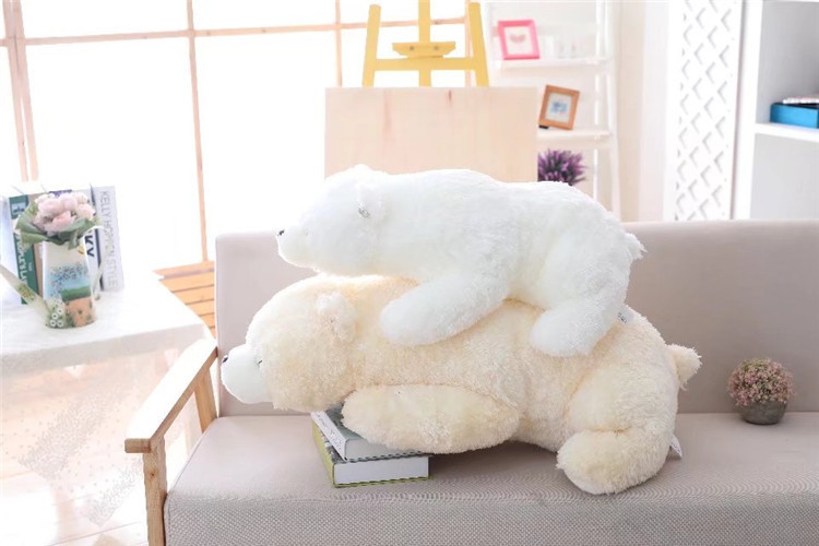 one piece lovely plush lying polar bear toy stuffed polar bear pillow doll gift about 85cm 2957 big cute simulation polar bear toy handicraft lovely white polar bear doll gift about 31x18cm