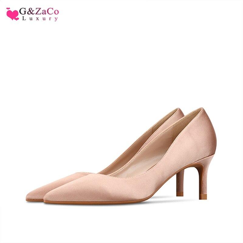 Silk Low Heel Shoes Women kitten heels Heeled shoes Woman Simple Ladies Shoes High heel Nude