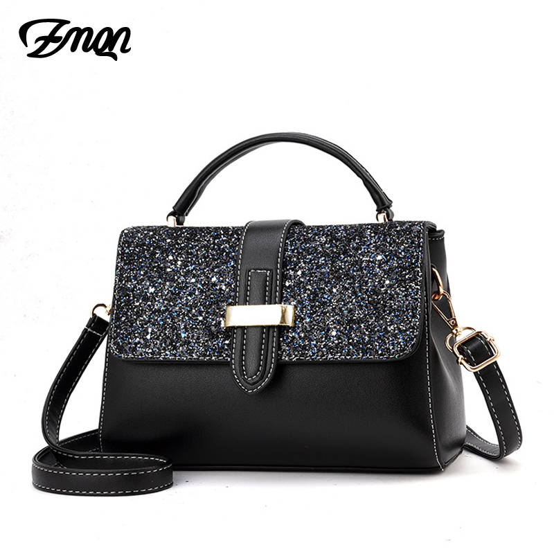 ZMQN Crossbody Bag For Women 2018 PU Leather Shoulder Bag Handbags Summer Small Flap Pocket Sequins Fashion Bolsa Feminina B341