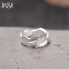 JINSE 999 Sterling Silver Jewelry Wave Shape Rings for Women Wedding Rings Jewelry Fashion Open Adjustable Finger Ring 6.50mm