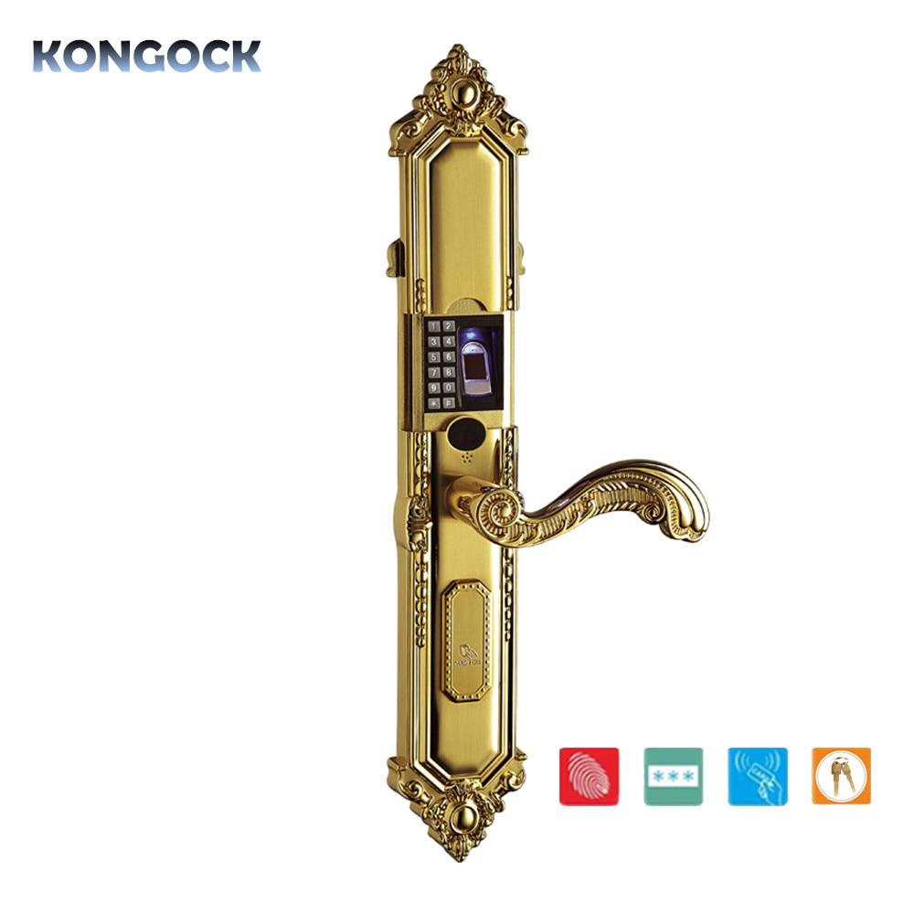 Zinc alloy Biometric fingerprint vintage antique EU smart door lock anti theft password Card access with mechanical key in Door Locks from Home Improvement