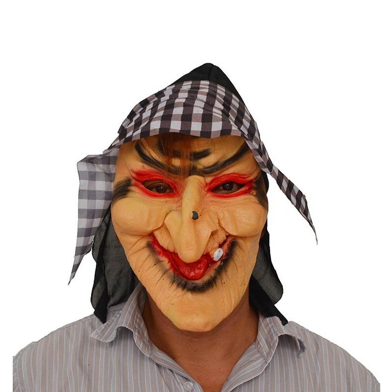 Disfraz Halloween Witch Mask Gingham Witch Headgear Latex Mask Performance Prop Dress Up New Design