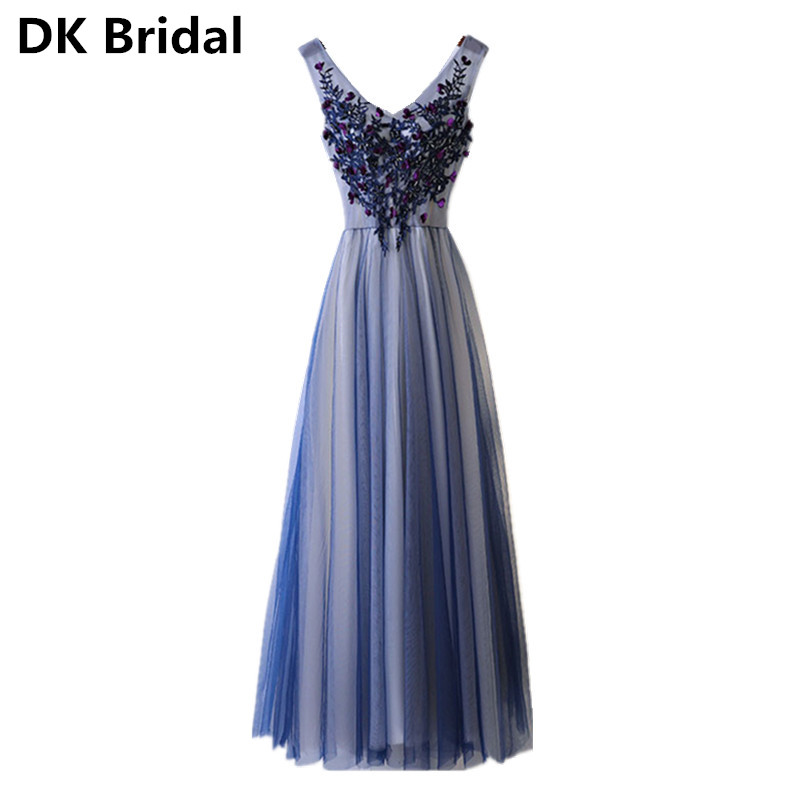 Robe De Soiree Appliques Lace-up Long   Evening     Dress   With Pleats 2019 New Sexy Backless Prom   Dresses   Floor-length Party Gowns