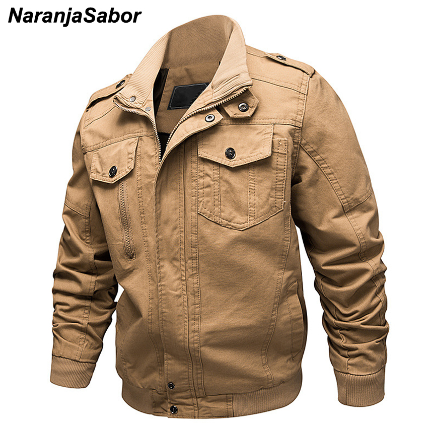 NaranjaSabor 6XL Casual Men's Military Pilot Bomber Jackets Spring Autumn Army Mens Air Force Flight Coats Male Outerwear N422