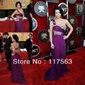 Free shipping kim kardashian red carpet show one shoulder beaded chiffon violet celebrity dress CD017