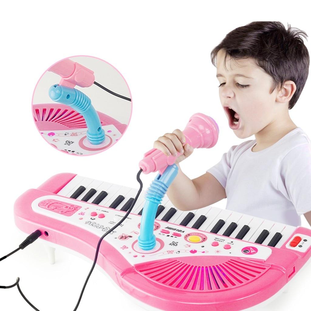 MUQGEW Piano jouet pour enfants 37 clés Instrument électronique Microphone multifonctionnel juguetes educativos enfants jouets - 2