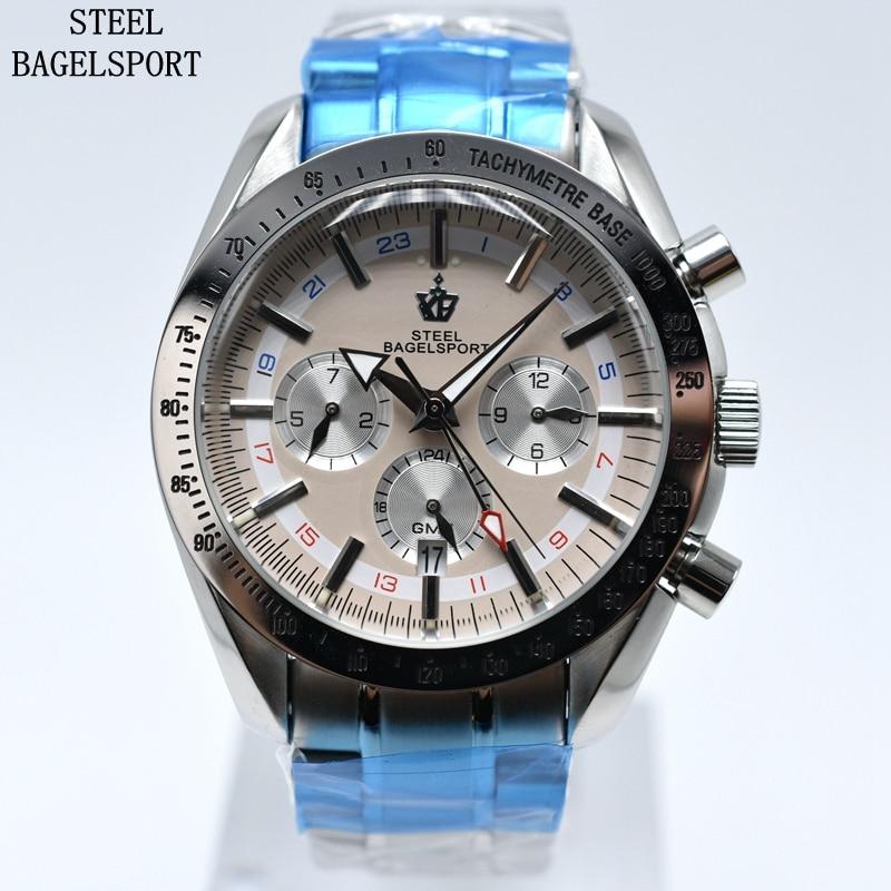 STEELBAGELSPORT Mannen Horloge Top Merk Luxe Chronograph Volledige rvs Automatische Mechanische Waterdichte Sport Militaire Horloge-in Mechanische Horloges van Horloges op  Groep 2