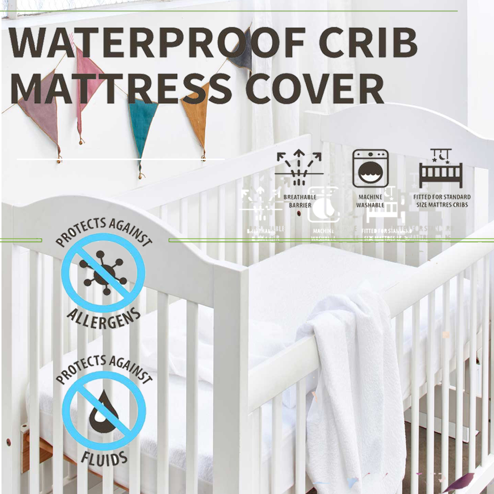 Summitkids 80X88CM Baby Crib Mattress Pad Cover For Foam Mattress Protector Waterproof Sheet Anti Mites Bed Bug Proof Bed Cover
