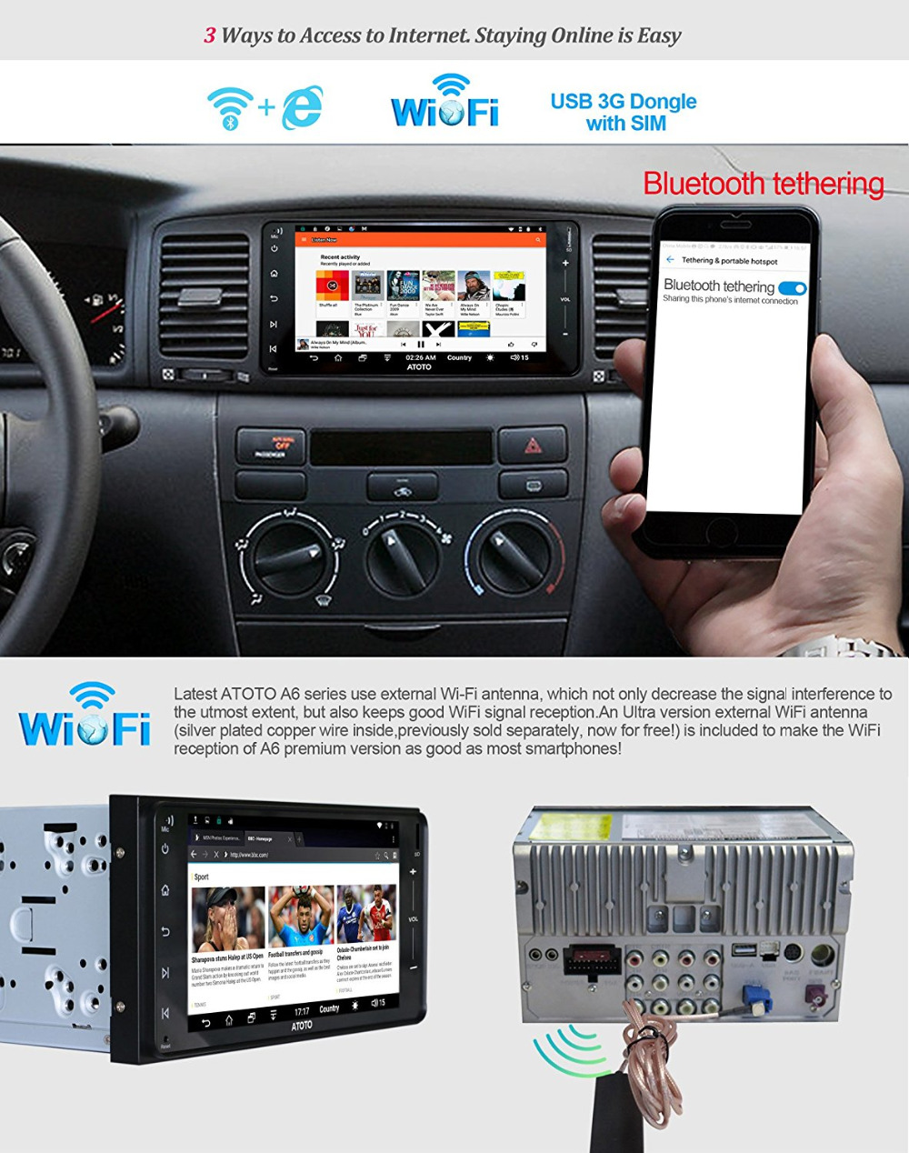 US $209 0  ATOTO A6 Double Din Android Car GPS Stereo/for Toyota & Subaru/  Dual Bluetooth/A6YTY721P 2G+32G/Quick Charge/Indash Radio/WiFi-in Vehicle