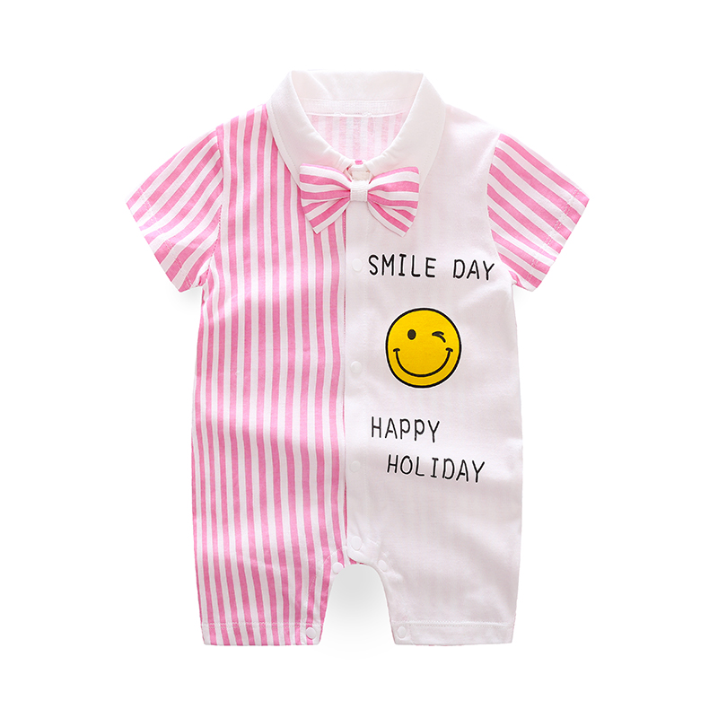 YiErYing Baby Rompers Summer Short sleeve lovely 100 Cotton Newborn Clothes Small Suit Outfit With Bow Tie Birthday Gift in Rompers from Mother Kids