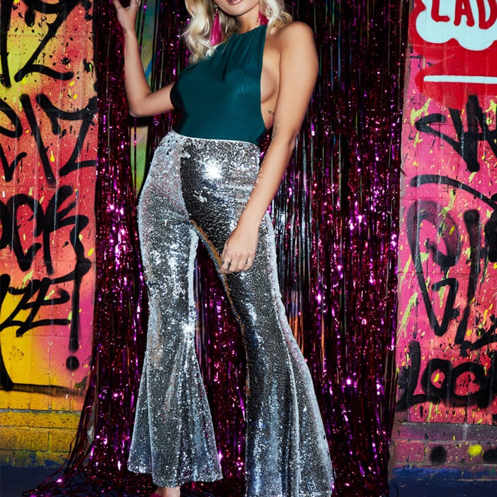 1756bbf4 High Waist Sequin Speaker Pants for Women Full Length Sparkly Trousers  Female High Street Solid Casual Flare Pants Blue Black-in Pants & Capris  from Women's ...
