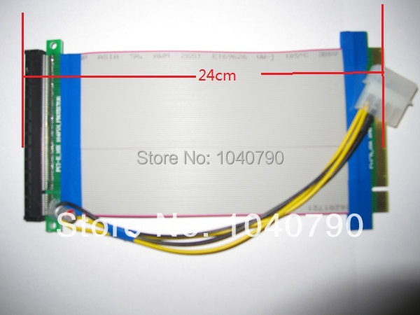 10pcs lot 24cm PCI E Express X16 Riser Card Flexible ribbon Extender Cable with molex power