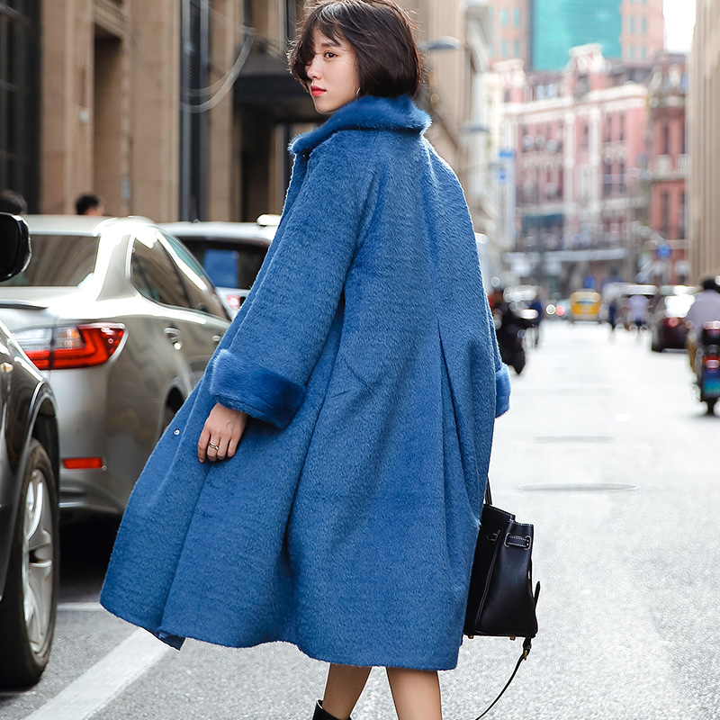 Manteau Veste Femmes De 70 Cru 30 Cachemire 2019 Nylon Col White Zt1536 Fourrure D'hiver Coréen Alpaga Vison Vêtements blue Automne adxwqEpFa