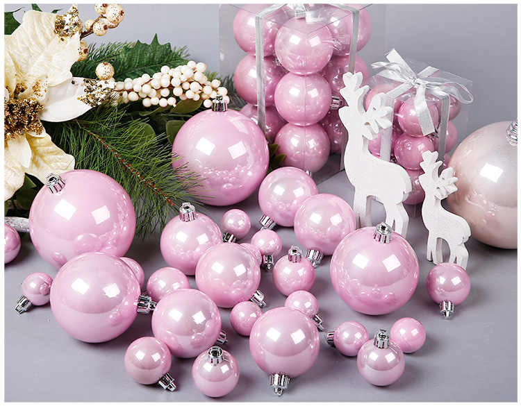 3 10 Cm Pink Rose Gold Pearl Christmas Ball For Christmas Decoration And Christmas Tree Ornaments