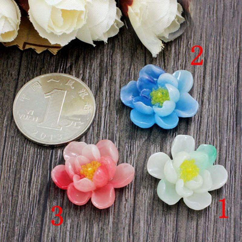 6pcs/lot AAA quality water lily resin wholesale/retail 23mm 3color optional resin flower for jewelry decoration! 009005026