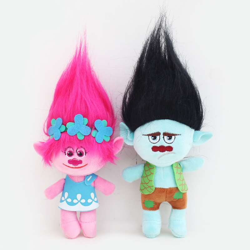 23-32cm Hot Sale Movie Trolls Plush Toy Poppy Branch Dream Works Stuffed Cartoon Dolls The Good Luck Trolls Christmas G