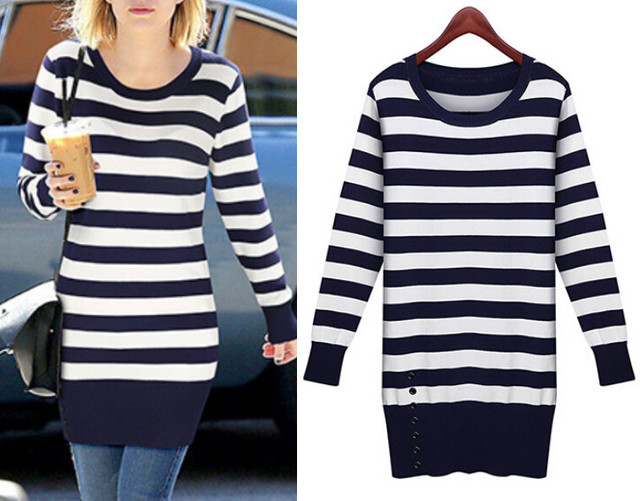 7978ffc3c754 2015 Autumn Winter Knitted Sweater dress for women Blue and white striped  Casual Mini Pullover Sweter