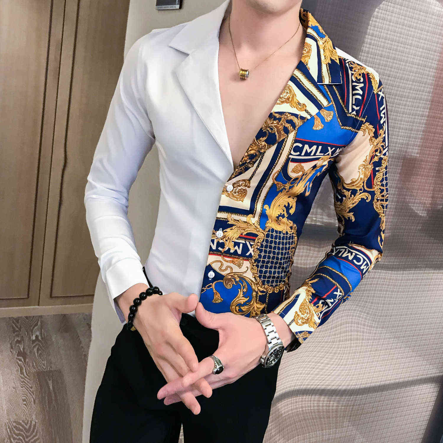Роскошная Черная Золотая рубашка 2019 осень барокко мужские рубашки с длинным рукавом Лоскутная Повседневная рубашка для мужчин Slim Fit печати ...