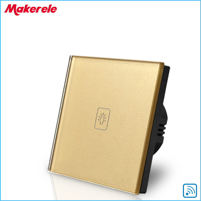 Wall Light Free Shipping Remote Control Touch Switch EU Standard Remote Switch Gold Crystal Glass Panel+LED 50HZ/60HZ 2017 free shipping smart wall switch crystal glass panel switch us 2 gang remote control touch switch wall light switch for led