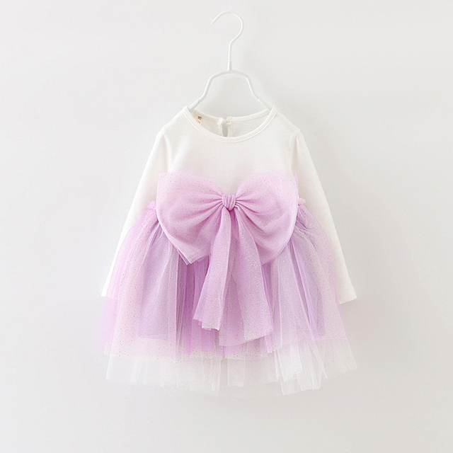 New arrival baby girls TUTU dresses kids voile long sleeve bow princess dress kids girl summer clothes