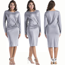 Popular new popular European and American fashion personality solid color sexy pleated slim long-sleeved female dress