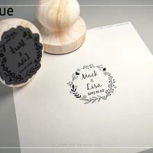 Диаметр 4,5 см персонализированные имя и Дата пользовательский деревянный штамп печать для приглашений канцелярские товары Свадебные украшения DIY свадебный подарок
